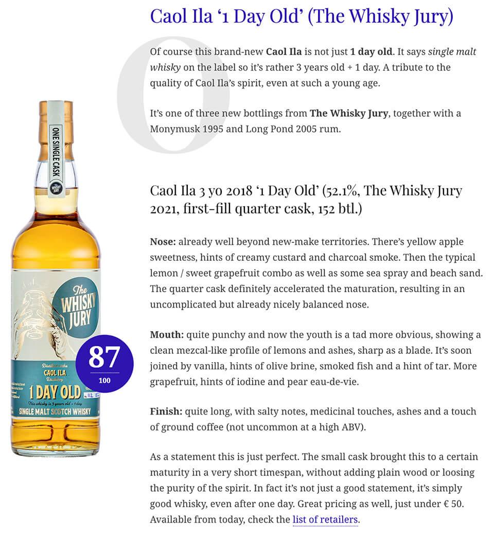 The Whisky Jury Caol Ila 1day
