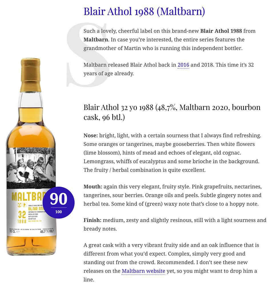 WhiskyNotes Maltbarn Blair Athol