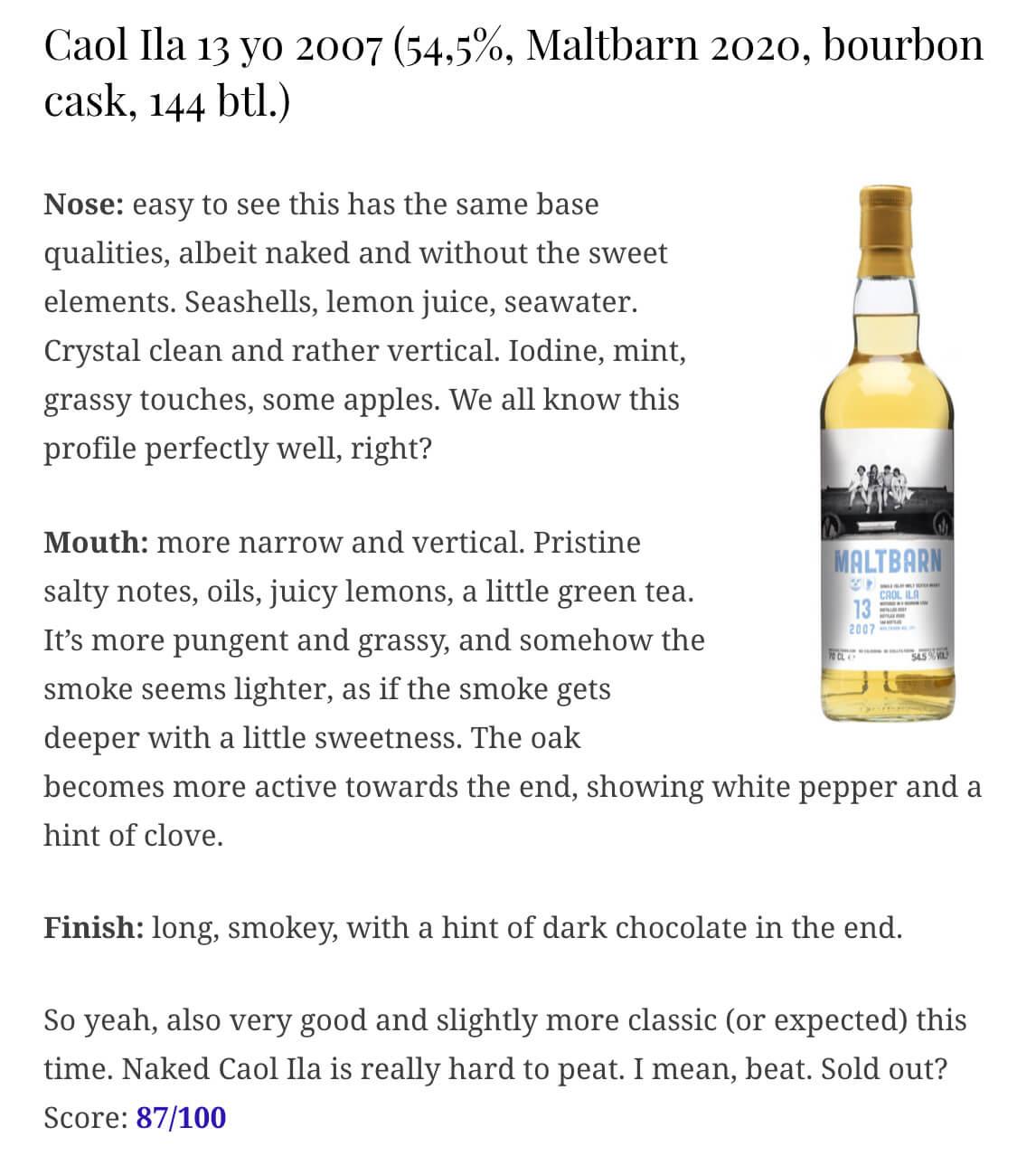 whiskynotes maltbarn caolila